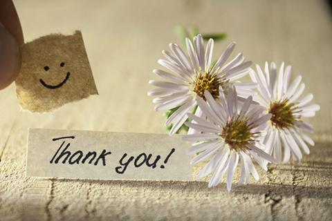 Thank you!と書かれた紙と白い花