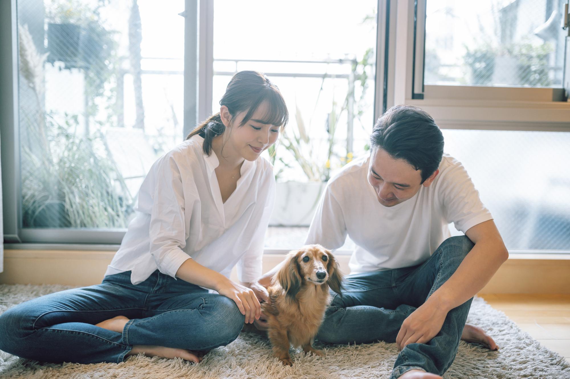 犬と過ごす夫婦