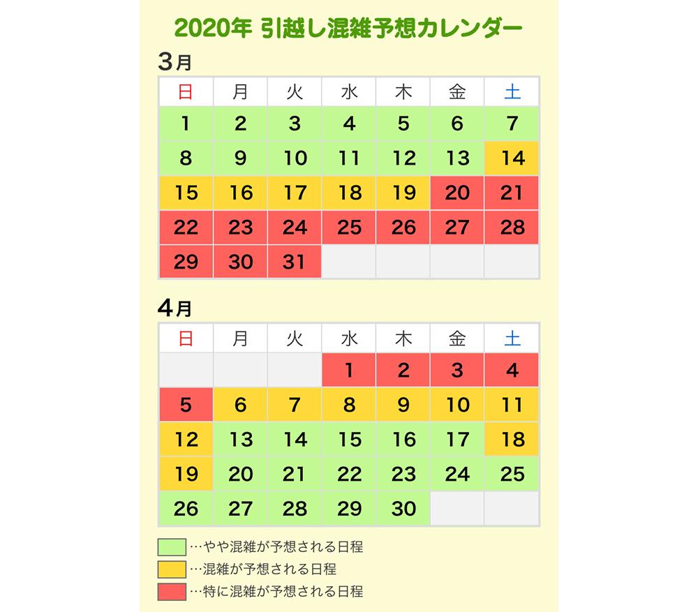 2020年引越混雑予想カレンダー