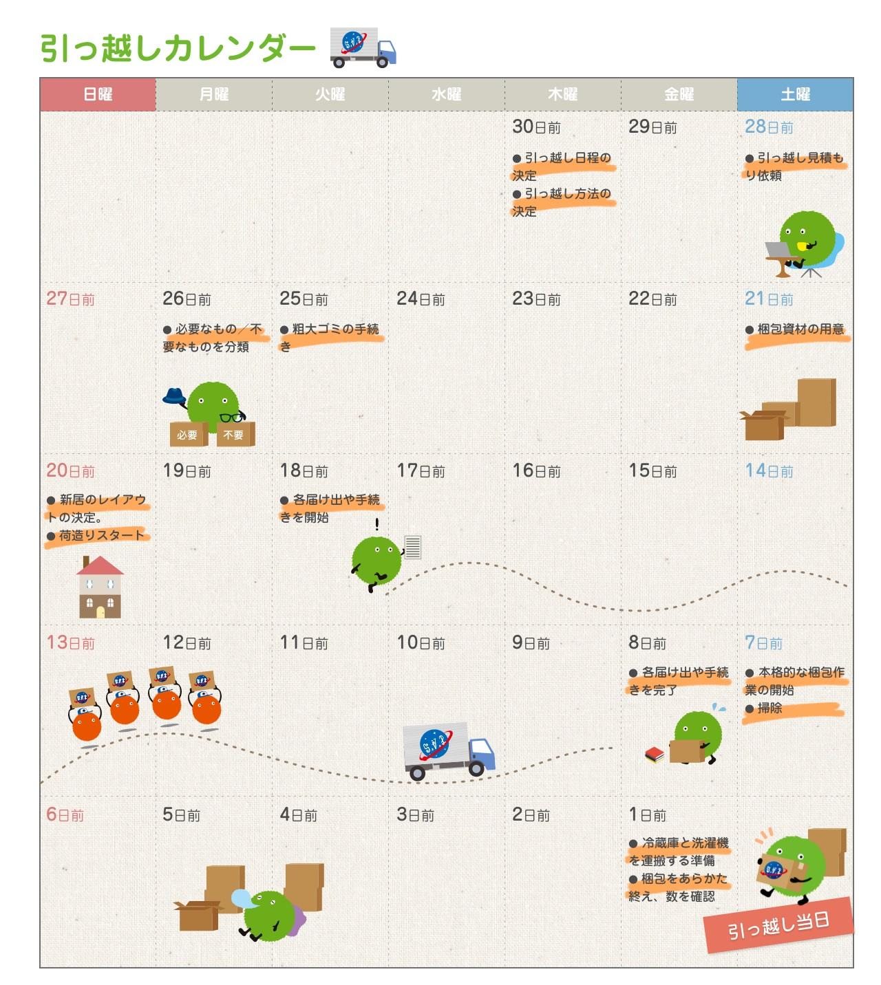 引っ越しカレンダー