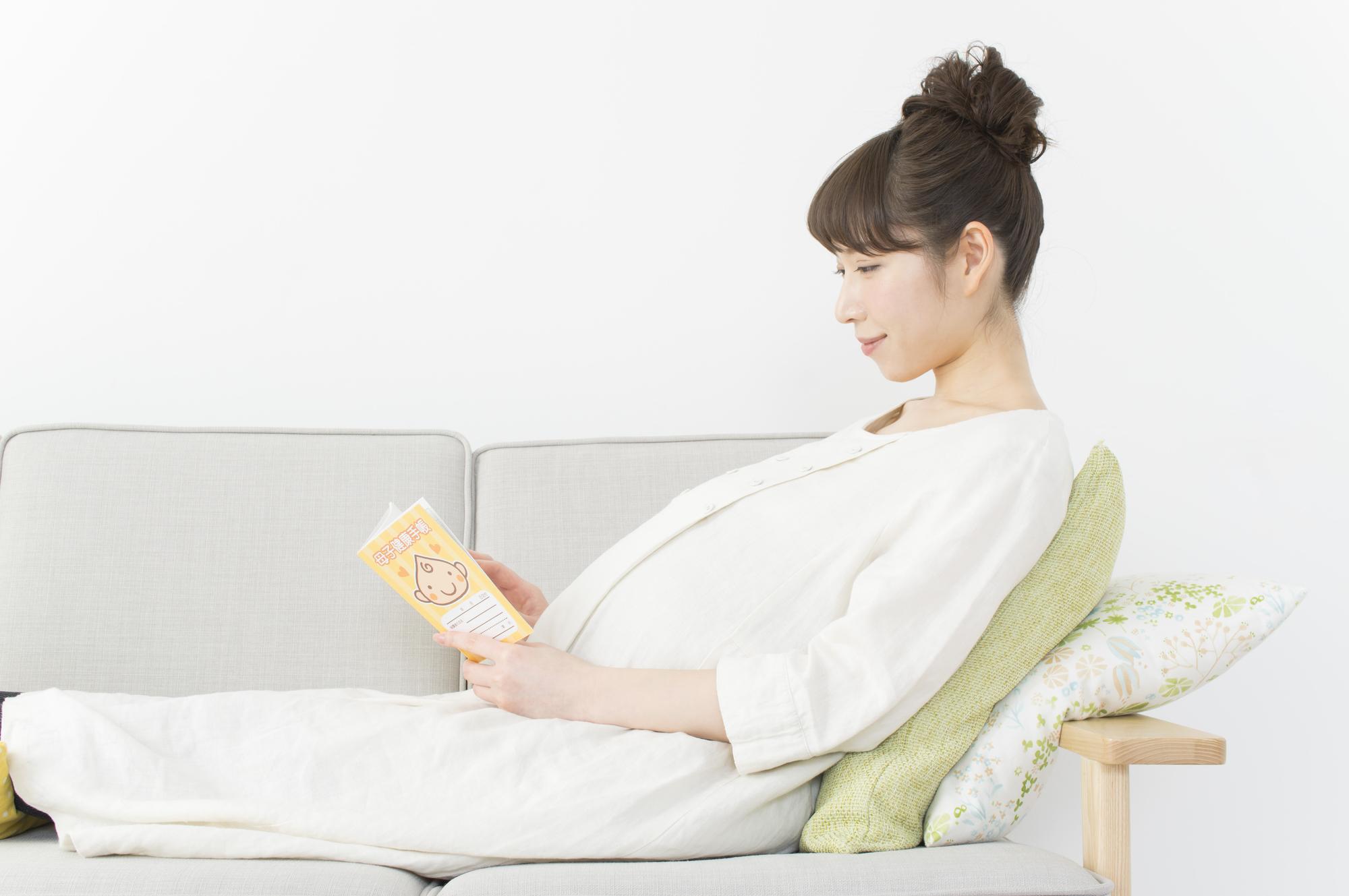 母子手帳を見る妊婦
