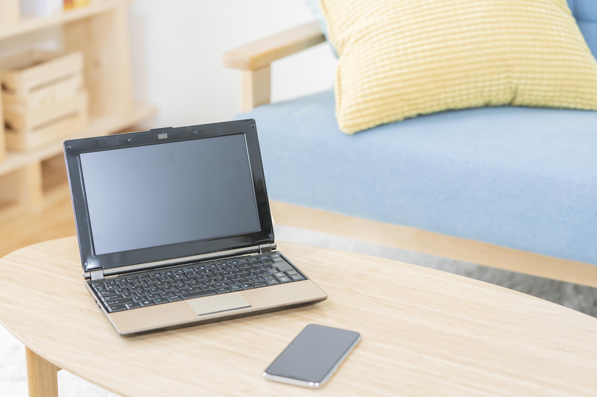 リビングにあるノートパソコン